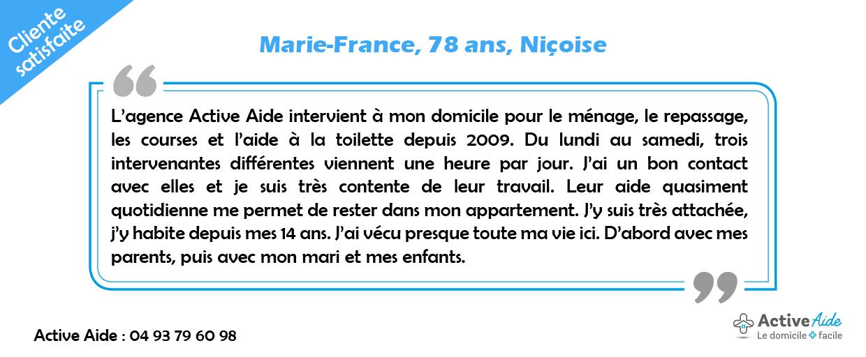 Cliente satisfaite des services d'Active Aide, Marie-France témoigne