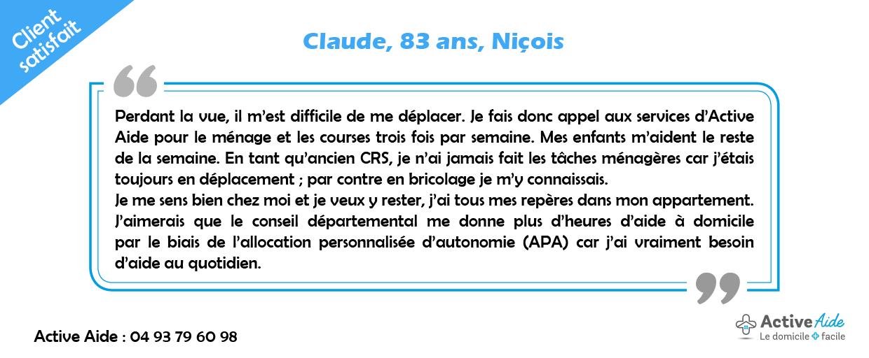 Grâce à l'APA, Claude bénéficie du maintien à domicile