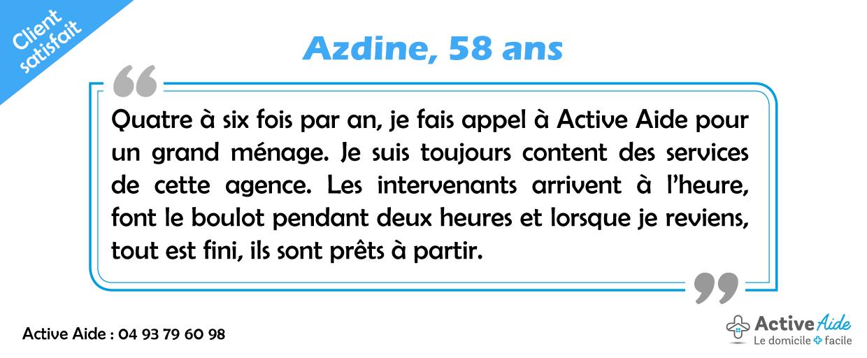 Azdine : «Je suis toujours content des services d'Active Aide»